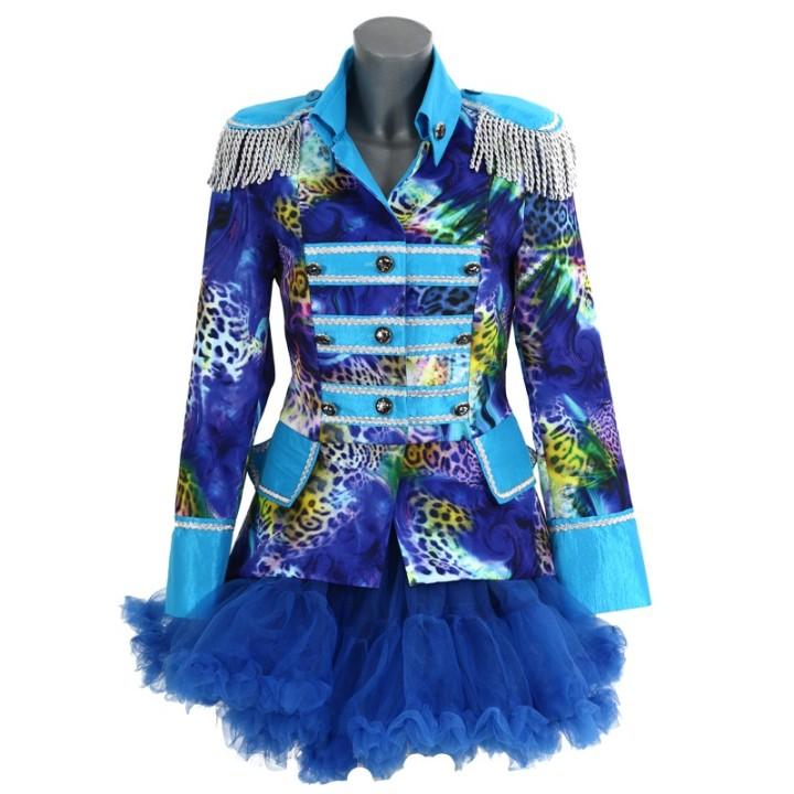 Carnavalsjas dames blauw fantasy kort dlx