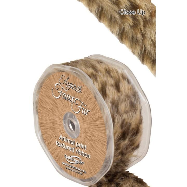 Decoratie lint pluche luipaard op rol 38mm