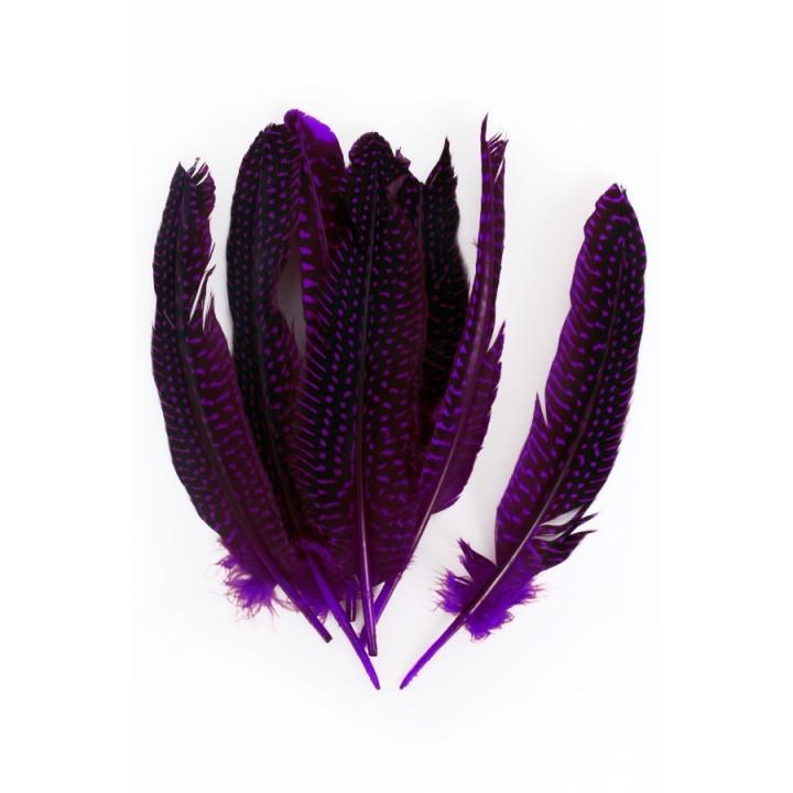 Parelhoen veren paars 15/20cm 10st