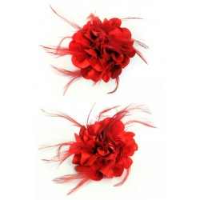 Haarbloem/broche met veertjes rood