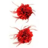 rode haarbloem bloemen broche rood