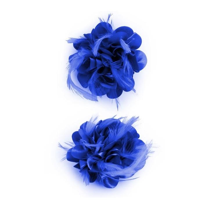 Haarbloem/broche met veertjes blauw