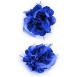 blauwe haarbloem bloemen broche groen