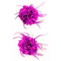 Haarbloem/broche met veertjes roze