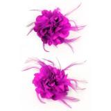 blauwe haarbloem bloemen broche roze