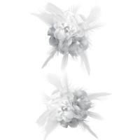 Haarbloem/broche met veertjes wit