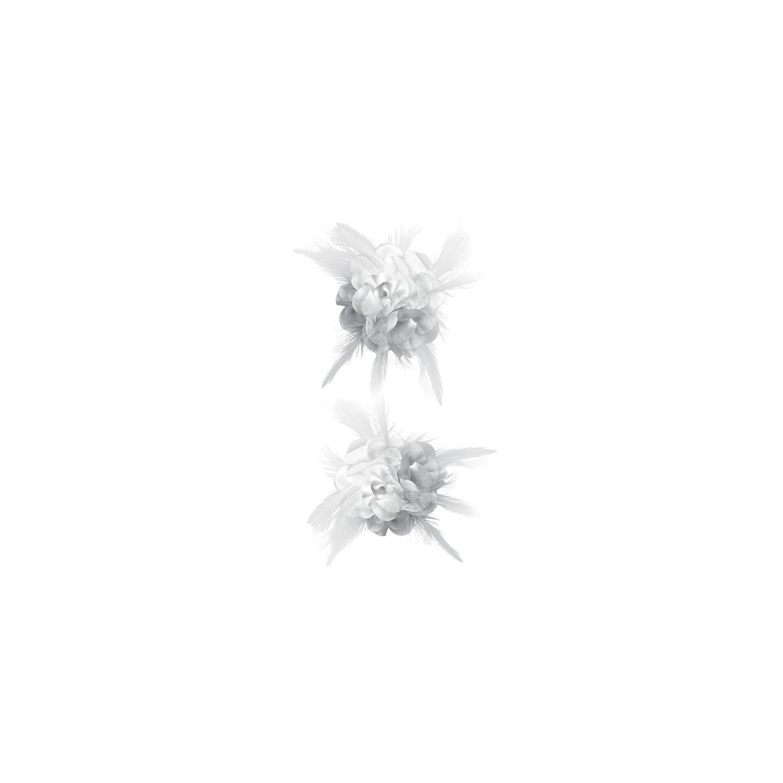 witte haarbloem bloemen broche roze