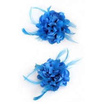 Haarbloem/broche met veertjes turquoise