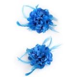witte haarbloem bloemen broche turquoise