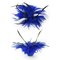 Haarbloem met witte veertjes blauw