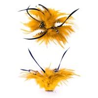 Haarbloem met witte veertjes goudgeel
