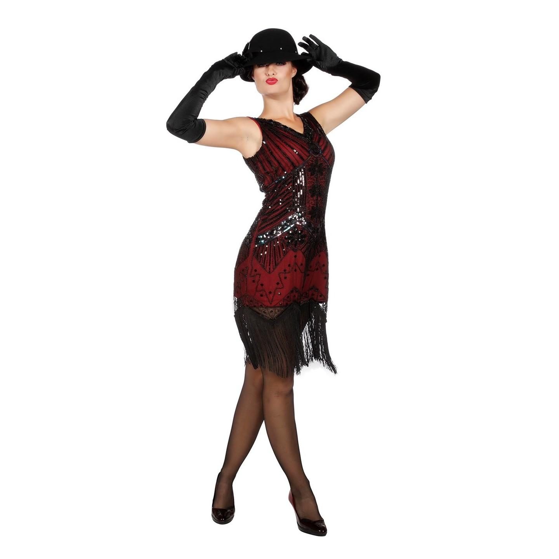 Charleston jurkje rood jaren 20 verkleedkleding