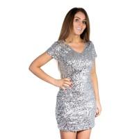 Glitter jurkje zilver met pailletten dames
