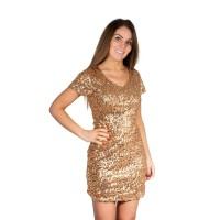 Glitter jurkje goud met pailletten dames
