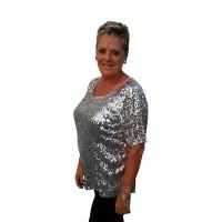 Glitter top pailletten zilver grote maat