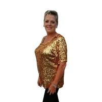 Glitter top pailletten goud grote maat