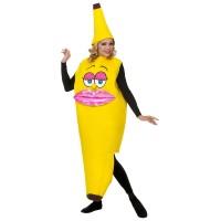 """Banaan kostuum """"Miss Banana"""" met lippen"""