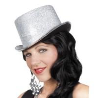 Hoge hoed zilver lurex Glitz