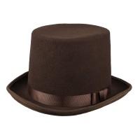 """Bruine hoge hoed """"Byron"""" deluxe"""