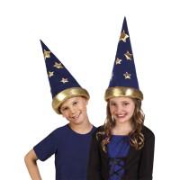 Tovenaar hoed kind blauw met goud
