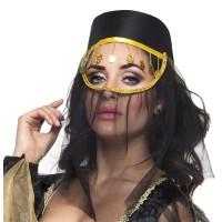 Arabisch hoedje dames zwart met sluier