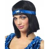 Pailletten hoofdband blauw haarband glitter