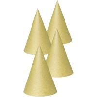 Papieren feesthoedjes glitter goud 6st