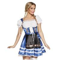 Sexy Tiroler jurkje Helena blauw met wit