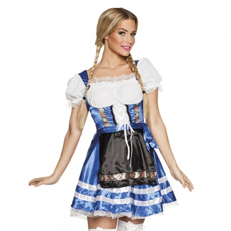 sexy tiroler jurkje blauw carnaval kleedje