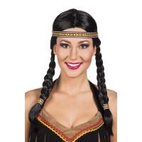 Dames indianen pruik vlechten + hoofdband
