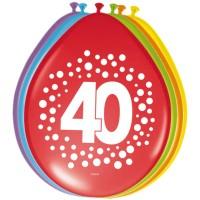 Verjaardag ballonnen 40 jaar rainbow 30cm 8st