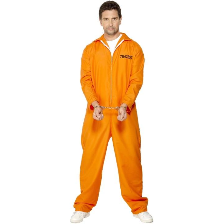 Amerikaanse gevangene kostuum oranje heren