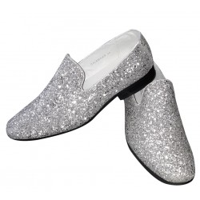 Zilveren glitter disco schoenen voor heren