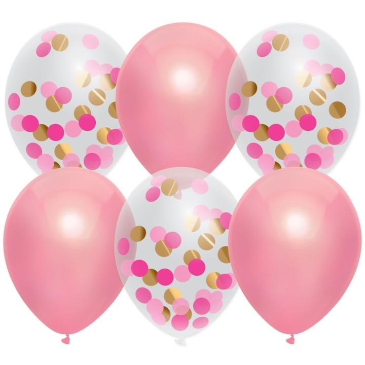 Confetti ballonnen roze prinses 6 stuks 30cm