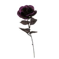 Decoratie Roos zwart glitter