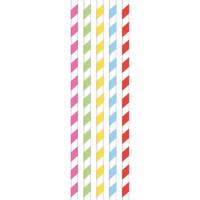 Papieren rietjes color world 20 stuks