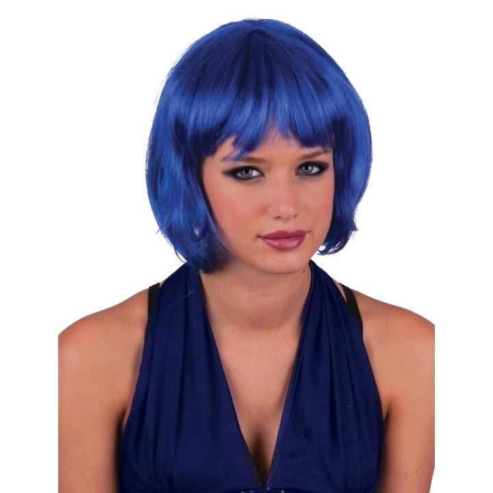Blauwe pruik boblijn Holly verstelbare maat