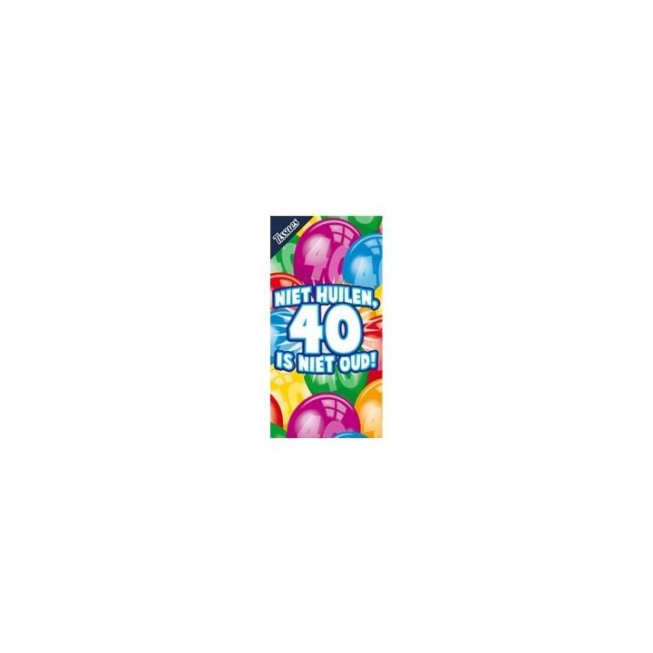 """Tissue box """"Niet huilen, 40 is niet oud"""""""