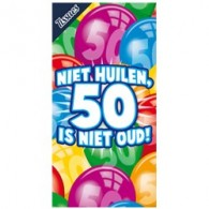 """Tissue box """"Niet huilen, 50 is niet oud"""""""