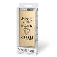 Cadeau Powerbank goud met tekst Moeder