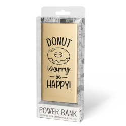 Cadeau Powerbank goud - Be Happy
