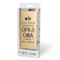 Cadeau Powerbank goud - opa & oma