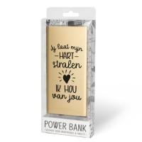 Cadeau Powerbank goud - ik hou van jou