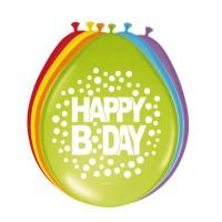 Verjaardag ballonnen Rainbow dots 30 cm 8 st