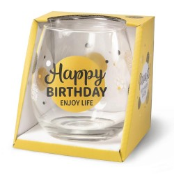 Wijn-gin-waterglas Happy Birthday Proost !