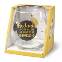 Wijn-gin-waterglas Bedankt Proost !