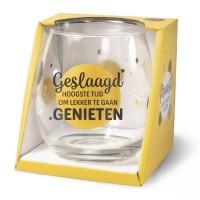 Wijn-gin-waterglas Geslaagd Proost !
