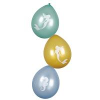 Zeemeermin decoratie ballonnen 6 stuks