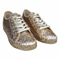 Glitter sneakers goud dames disco schoenen