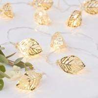 Gouden bladeren LED lichtslinger 1,5 m